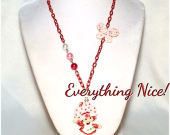 Vintage Style Strawberry Shortcake Necklace