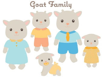 AnimalClipart - Goat Family Clip art - Animal Family Clipart - Cute Animals