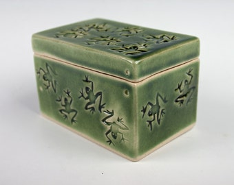 Handmade ceramic box, stamped with lots of little frogs, green, slab built, white stoneware