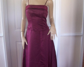 B2 Authentic Vintage Hollywood Claret Soft Sheen/Velvet Trim Gown/Bolero Shrug sz 6/8