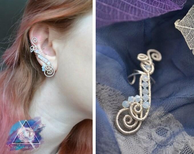 """Ear cuff """"Moon ice"""" \ casual ear cuff, elf ear cuff, elven ear cuff, elegant jewelry, fairy ear cuff, elven ear, moonstones"""