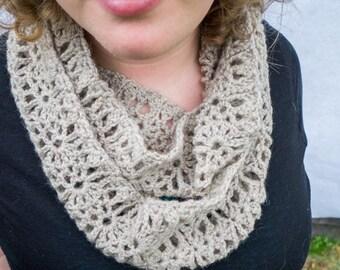 Crochet Infinity Scarf - Crochet Scarf Pattern - Crochet Scarf - Crochet Lace Scarf