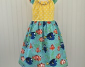 Girls flutter sleeve dress Finding Dory dress Girls size 6 Girls sun dress Ready to ship.