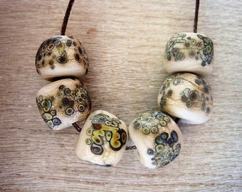 Glass Lampwork Bead set of 6 Stone Rustic Cream Speckled with Raku Etched Stone Finish