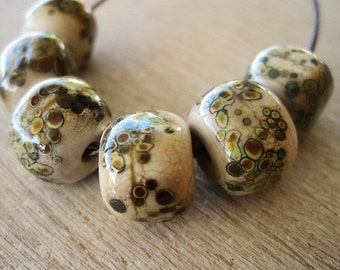 Glass Lampwork Bead set of 6 with Raku Speckles