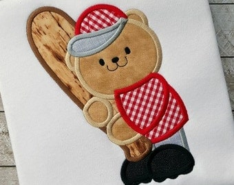 Baseball Applique Design - Bear Applique Design - Sports Applique Design - Baseball Embroidery Design - Bear Embroidery Design