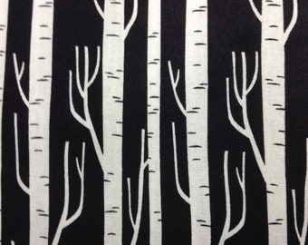 One Half Yard of  Fabric Material - Birch Trees Silouette