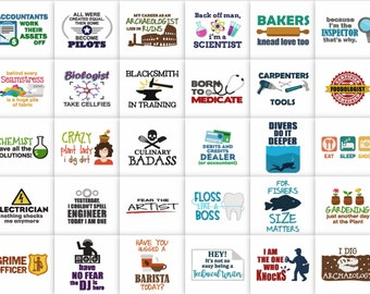 100 Professions Pack Saying and Quotes Embroidery Designs Pack in JEF