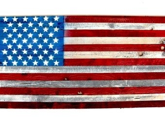Vintage American Flag Hand Painted Refurbished Wood 48''X27'' 4th of July