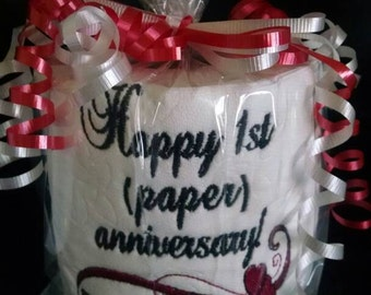 Embroidered toilet paper for a first anniversary