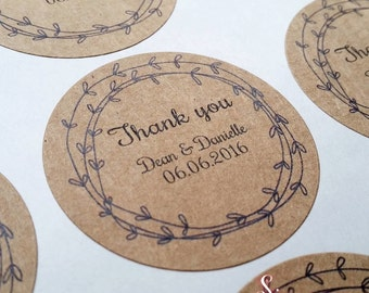 Rustic Kraft Brown Wedding Personalised Thank You Favour Envelope Sticker Labels x 48