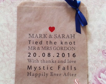 Personalised Wedding Kraft Brown Paper Candy Buffet Lolly Bags x 50