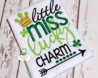 Little Miss Lucky Charm Shirt or Bodysuit, Girl St Patricks Day, Girl Shamrock Shirt, Girl St Patty's Day Shirt, Little miss Shirt