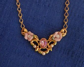 Vintage Avon Rose Necklace,Avon Gold Tone Pink Flower Necklace