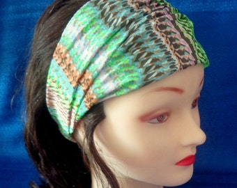 Wide Multi-color Headband, BOHO Green and Pink Headwrap