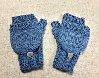 Organic Convertible Fingerless Gloves for Babies, Steel Blue, Merino Wool, Mittens with Flap, Gift for Kids