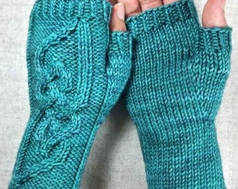 Fingerless Mittens viking-style  with cables, teal, handknitted woolen gloves for women and men