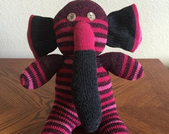 Handcrafted Sock Elephant - Pink Magenta Stripes