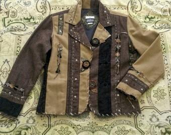 Yak Magik Nepalese Embellished Wool Jacket Gypsy Boho Woodland  OOAK Handcrafted