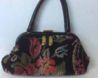 VINTAGE 1950s 1960s Tapestry Carpet Bag Purse Handbag Boho