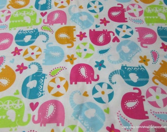 Flannel Fabric - Elephant Fun - 1 yard - 100% Cotton Flannel