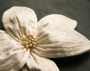 Silk hairflower, ivory-cream, wedding, bridal, silk dupioni, large, hairclip, hair accessory