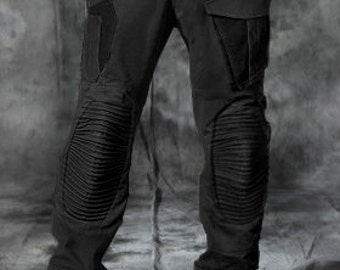 Post apocalyptic steampunk black men's pants - military style trousers.