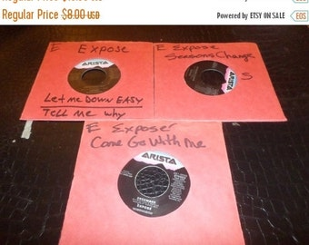 Save 30% Today Three Vintage Expose 45 RPM Records Let Me Down Easy Come Go With Me Seasons Change