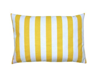 Cushion cover CANOPY yellow white stripe linen look 40 x 60 cm