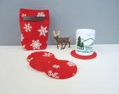 Felt Coaster & Gift Bag Eco-Friendly Set of 4 Red Reversible Snowflake Glitter Felt Mug Rug Cup Mat Cottage Decor Hostess Housewarming Gift