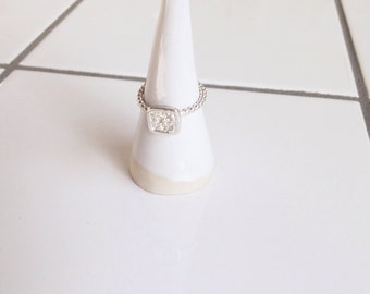 silver ring with square