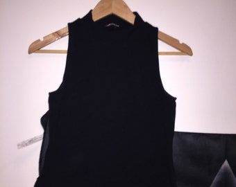 Black Crop Turtle Neck Top