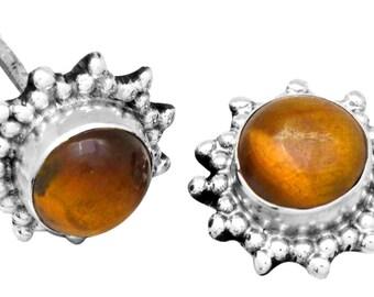 Tiger Eye Gemstone Stud Earrings Solid 925 Sterling Silver Jewelry IE21193