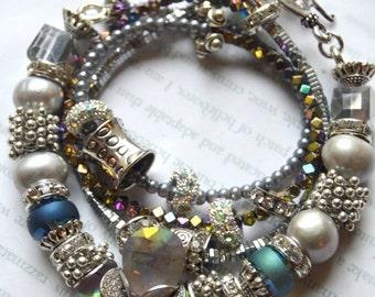 ON SALE gemstone bracelet, amethsyt bracelet, mutli strand bracelet, wrap bracelet, hematite bracelet, artisan bracelet