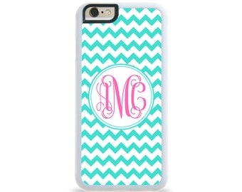 Chevron Turquoise Monogram Personalized iPhone Case, Monogram Personalized Galaxy Case