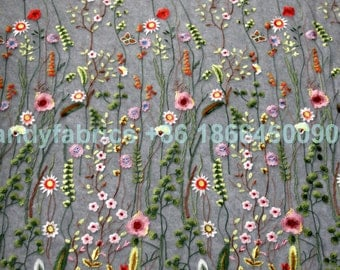 Fashion show spring mixed colors flowers on netting embroidered  dress lace fabric by yard