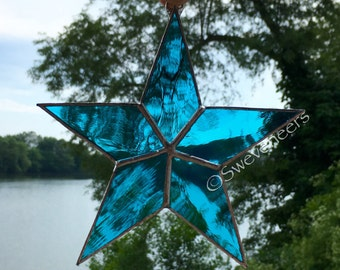 Sweveneer Light Blue Star Stained Glass Sun Catcher