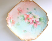Antique Limoges Style Dessert Dish, Patented 1858, Artist Signed Plate, Hand Painted Fine Porcelain, Poppy Plate