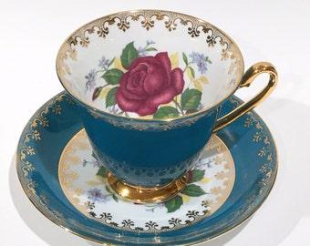 Rose Tea Cup and Saucer by Clarence, Tea Set, Clarence Tea Cup, Antique Tea Cups, Tea Sets, Turquoise Tea Cups, China Tea Cups, Pansy Cups