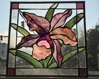 Orchid Pink and Purple Stained Glass Flower Panel Sun Catcher - Immediate Shipping