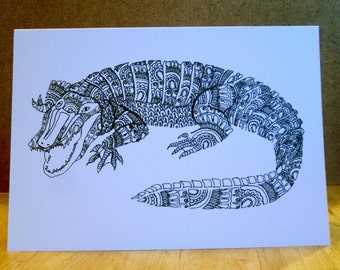 A5 Alligator Animal Art Greeting Card