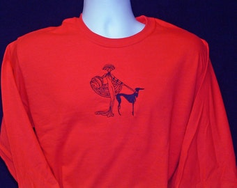 11LS Erte Embroidered Greyhound Long Sleeve Tee Shirt.