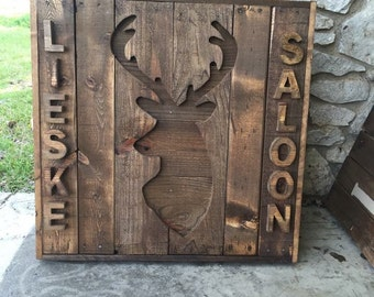 Deer Silhouette Decor, Deer Head Decor, Deer Head, Deer Silhouette, Deer Antlers, Deer Art Decor, deer head faux, wood lake house sign,