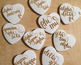 White heart buttons with gold sorority script! (out of stock will be back in mid August)