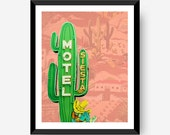 Motel Siesta Neon Cactus 8x10 16x20 Home Decor Art Poster Print southwest desert Digital PRINTABLE