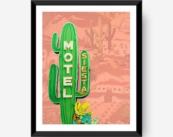 Motel Siesta Neon Cactus 8x10 16x20 Home Decor Art Poster Print southwest desert Digital PRINTABLE