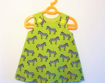 Funky Lime Green Zebra Print A-Line Pinafore Dress For Infant Girls