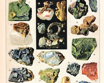 1887  Minerals Rocks Precious Gems Matted Antique Print Geology Larousse French Science