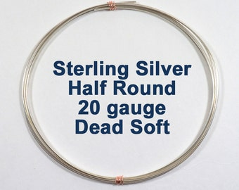 Sterling Silver Wire - 20ga HR Half Round  - Choose Your Length