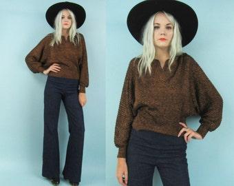 70s Metallic Batwing Sweater, Glittery Copper Top, Size Medium, Disco Top, Long Sleeved Shirt, Vintage Dolman Sleeve, Angel Wing